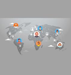 social media communication world map concept vector image vector image