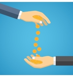 Hand throwing coins to another hand vector image vector image