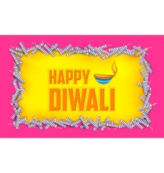 Happy Diwali background with diya and firecracke vector image