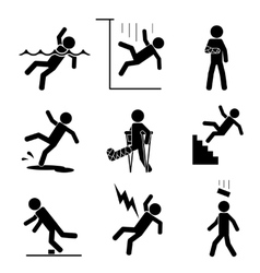 Safety and accident icons vector image vector image