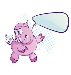 flying pig cartoon vector image vector image