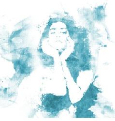 halftone water woman vector image vector image