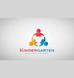kindergarten kids logo vector image
