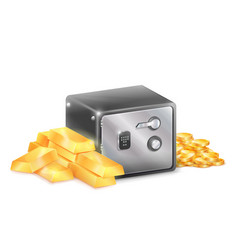 metal safe strongbox with golden coins gold bars vector image vector image