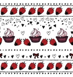 Romantic seamless pattern Valentine day Border vector image
