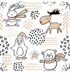 seamless pattern with cute penguinreindeerbear vector image vector image