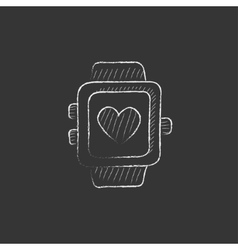 Smartwatch with heart sign drawn in chalk icon vector