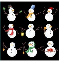 Winter Christmas snowmen collection vector image vector image