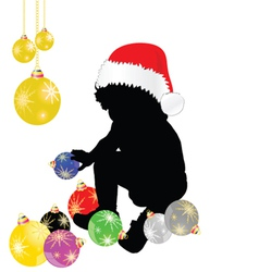baby with christmas hat and decoration vector image vector image