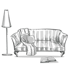 Comfortable sofa and a lamp vector image vector image