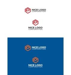 e hexagon logo vector image vector image
