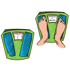 feet on weight scales healthy weight vector image