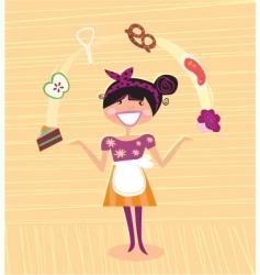 mother kitchen super hero vector image