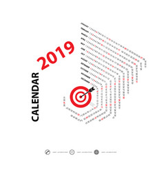 2019 calendar templatehexagon shape vector