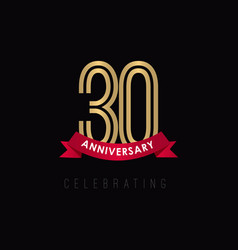 30 year anniversary luxury gold black logo vector