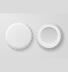 3d realistic white blank beer bottle cap vector image