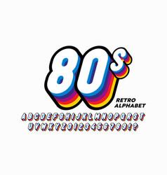 80s style colorful retro 3d font alphabet letters vector