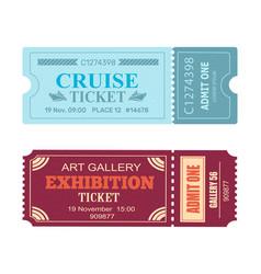 Art gallery exhibition cruise coupon set vector