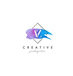 Az artistic watercolor letter brush logo vector