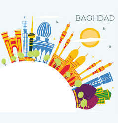 Baghdad iraq city skyline with color buildings vector
