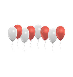 balloons set red and white grey colors vector image