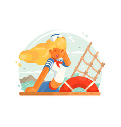 beautiful girl sailor vector image