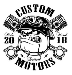 biker bulldog t-shirt design monochrome vector image