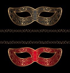 Black and red masks with golden ornament vector