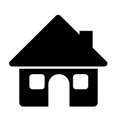 Black silhouette of house with two windows in vector