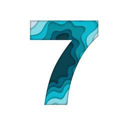 blue number seven vector image