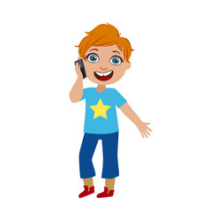 boy chatting on his smartphone part of kids and vector image