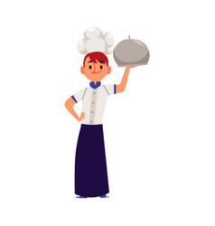 boy in a professional chef costume coocking flat vector image
