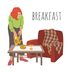 Breakfast the lady pours tea into cup the girl vector