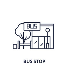 bus stop line icon concept bus stop linear vector image