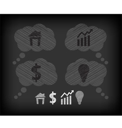 Business icons on the blackboard vector