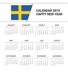Calendar 2019 sweden flag background english vector