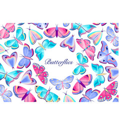 card with colorful butterflies vector image