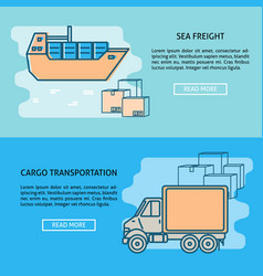 cargo transportation banner or poster templates vector image