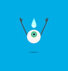cartoon human eye rejoices in moisturizing vector image