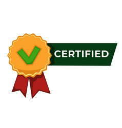 certified label badge with checkmark and ribbon vector image