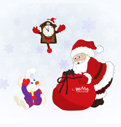 Christmas card with santa clausa rabbit clock vector