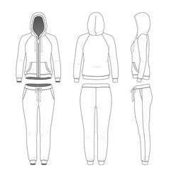 Clothing set woman hoodie and pants vector