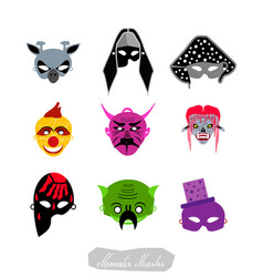 clowns aliens and evils halloween masks set vector image
