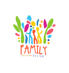colorful happy family logo design template vector image