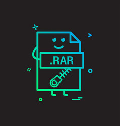 Computer rar file format type icon design vector