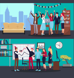 Corporate party in office on vector