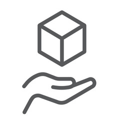 Cube in hands line icon arm and cube hands vector