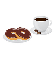 Cup of coffee and donut vector
