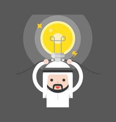 Cute arab saudi man connect light bulb creative vector