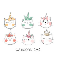 cute bacat cartoon hand drawn style vector image